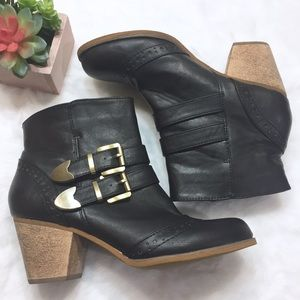 Restricted Black Ankle Boots W/Buckles Size 6